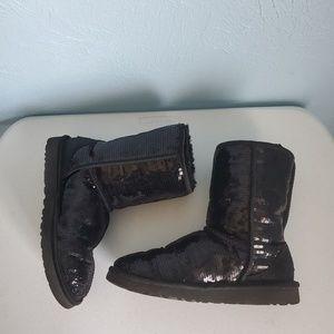 Uggs classic black sequins Sz 7 boot